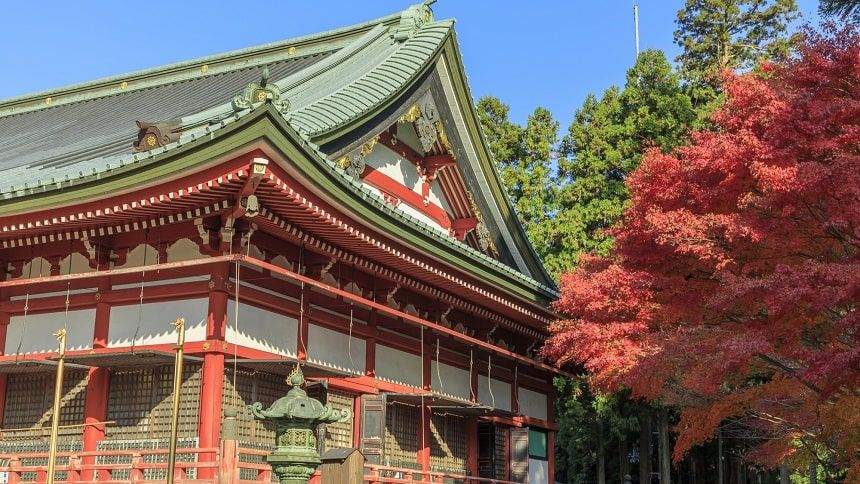 比叡山延暦寺の紅葉している様子