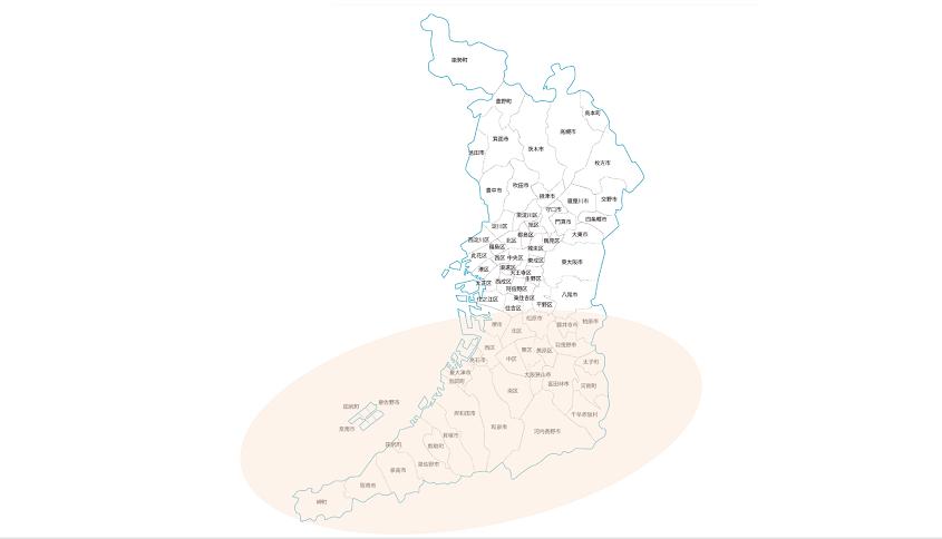 大阪の地図南エリアに印あり