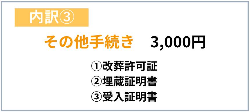その他手続きに必要な費用3,000円
