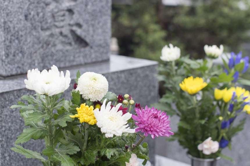 色とりどりの仏花が供えられている墓前