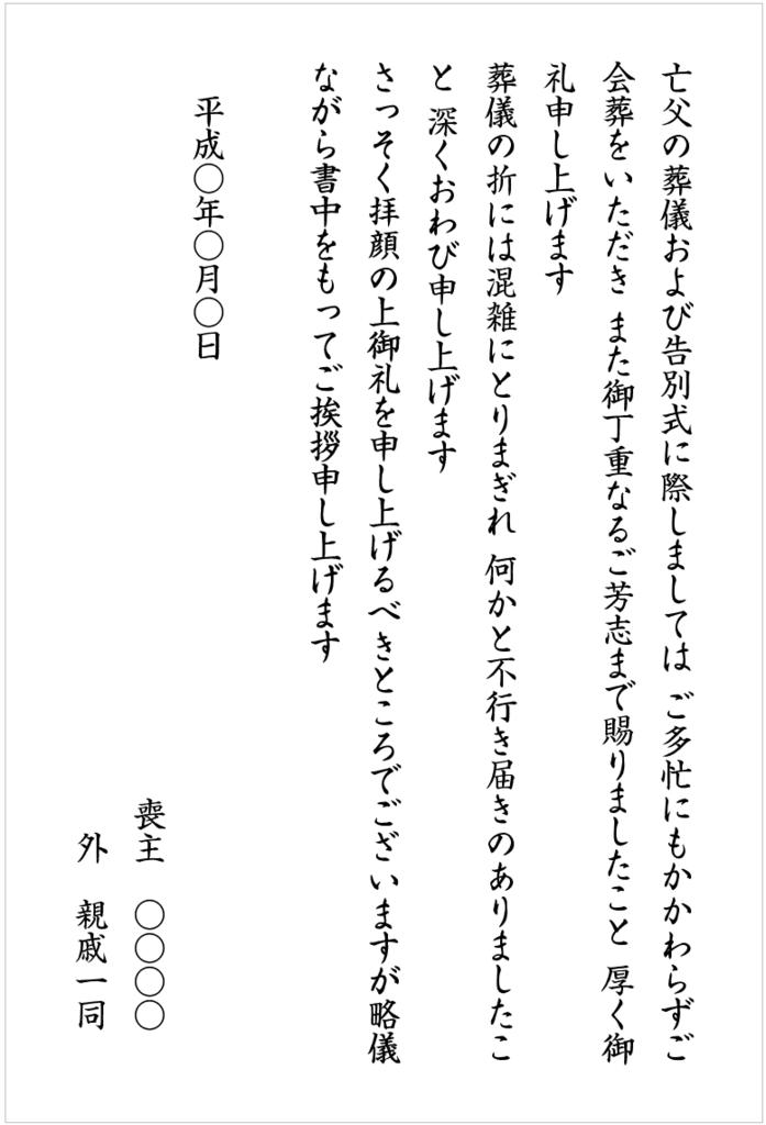会葬礼状の文例(仏式の場合)