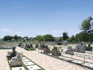メモリアルパーク緑の丘に並ぶ洋型墓石